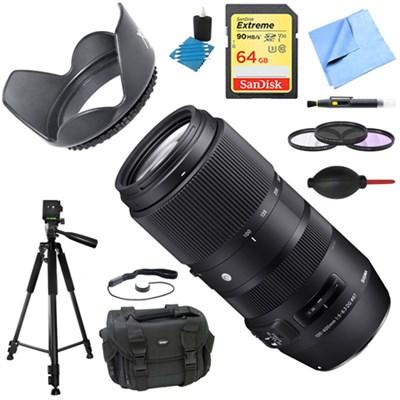 100-400mm F5-6.3 DG OS HSM Telephoto Lens (Nikon) Deluxe Accessory Bundle
