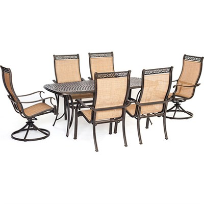 Manor 7 Piece Outdoor Dining Set with Two Swivel Rockers - MANDN7PCSW-2
