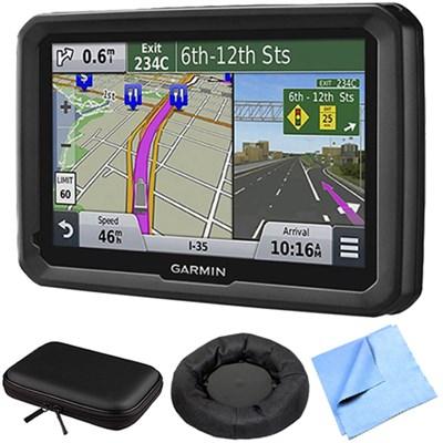 dezl 570LMT 5` Truck GPS Navigation Lifetime Map/Traffic Mount/Case Bundle