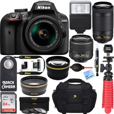 D3400 DSLR Camera w/ AF-P DX 18-55mm & 70-300mm VR Lens Accessory Bundle (Black)