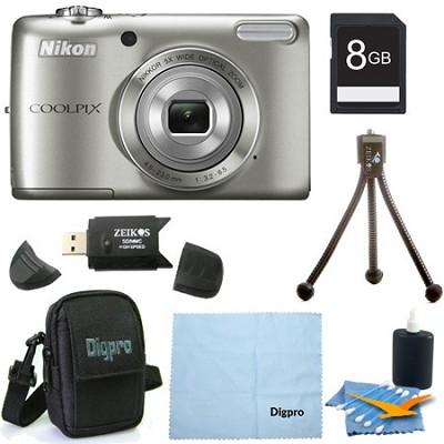 COOLPIX L26 16.1 MP 3.0-inch LCD Digital Camera 8GB Silver Bundle