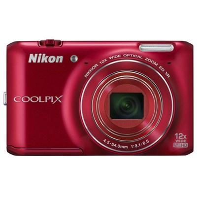 COOLPIX S6400 16 MP Digital Camera with 12x Zoom, Red (Certified Refurbished)
