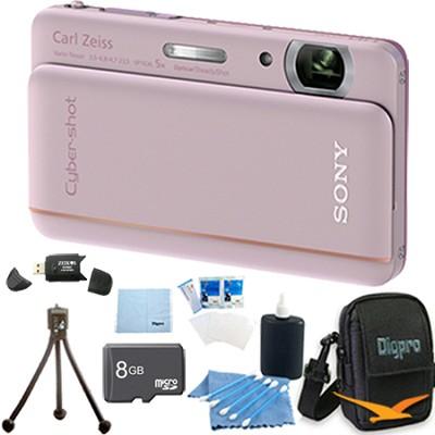 Cyber-shot DSC-TX66 18.2 MP CMOS Camera 5X Zoom 3.3` OLED (Pink) 8 GB Memory Kit