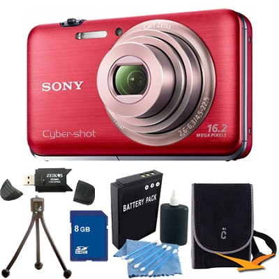 Cyber-shot DSC-WX9 Red Digital Camera 8GB Bundle