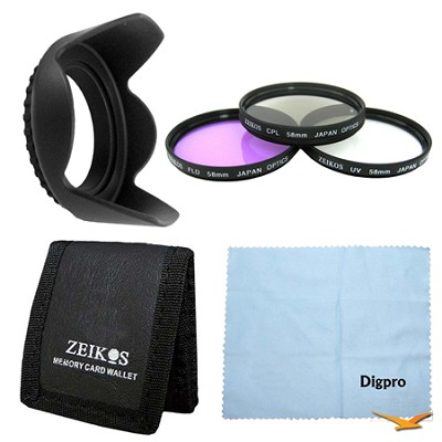Essential 58mm Tulip Hard Lens Hood Bundle