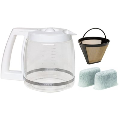 12 Cup Replacement Coffee Carafe with Gold Tone Filter & Water Filters Bundle