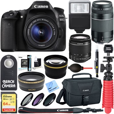 EOS 80D CMOS DSLR Camera 18-55mm & 75-300mm Dual Lens Bundle & Accessory Kit
