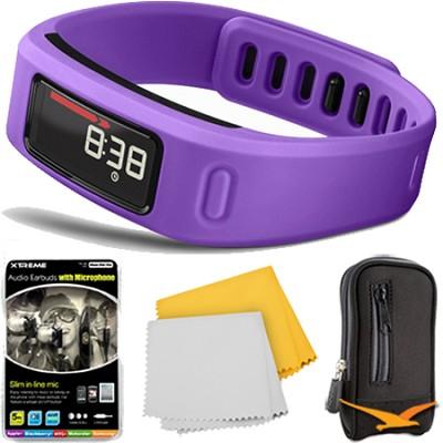 Vivofit Fitness Band Heart Rate Monitor Purple Headphone & Case Bundle