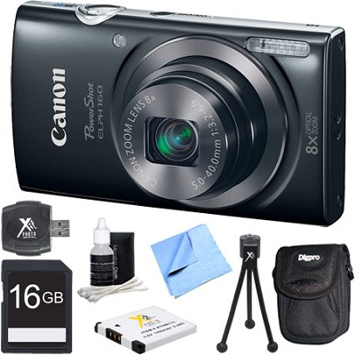 PowerShot ELPH 160 20MP 8x Opt Zoom HD Digital Camera - Black 16GB Bundle