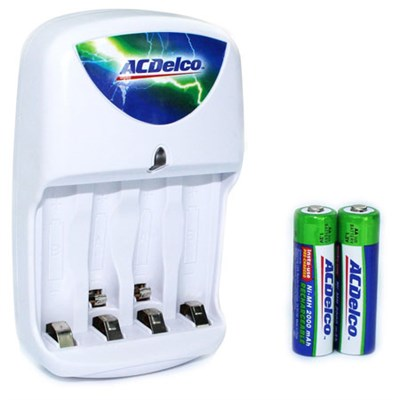 Insta-Use (Pre-Charged) Battery Charger w/ 2000mAh Ni-MH AA Battery 2-PaCK