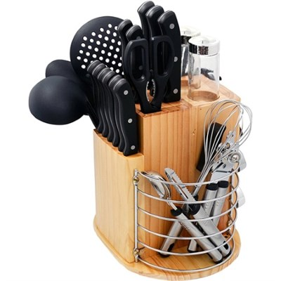 31-Piece Cutlery Knife Set with Gadgets and Rotating Caddy - PLCKS-200B