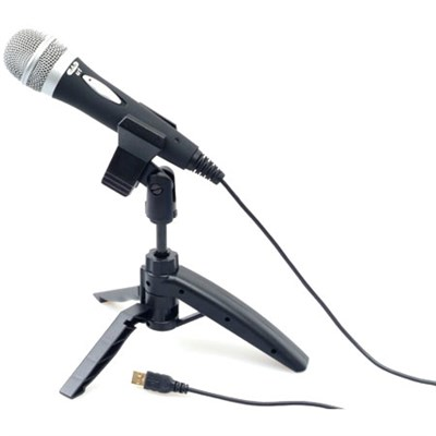 USB Cardioid Dynamic Handheld Microphone w/Tripod Stand, 10' USB Cable