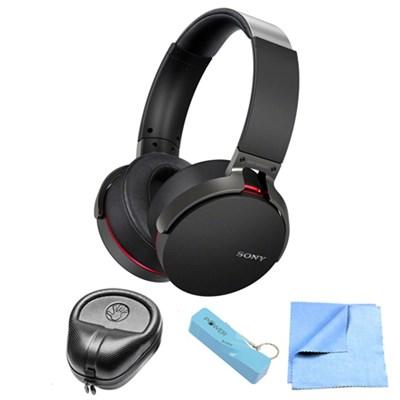 Extra Bass Bluetooth Wireless Black Headphones w/ Power Bank Bundle