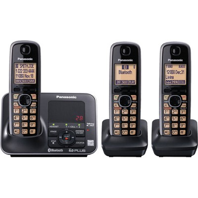 KX-TG7623B DECT 6.0 Link-to-cell Bluetooth Solution with 3 Handsets