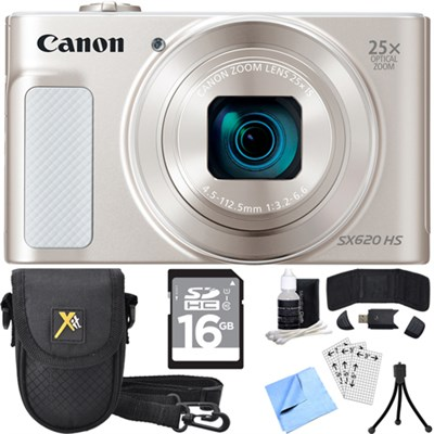 PowerShot SX620 HS 20.2MP Digital Camera Silver w/ Essential Accessory Bundle