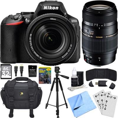 D5500 Black DX-format DSLR Camera w/ NIKKOR 18-140mm + 70-300mm Lens Bundle
