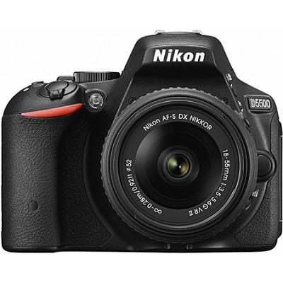 D5500 Black DX-format DSLR Camera with AF-S NIKKOR 18-55mm f/3.5-5.6G VR II Lens