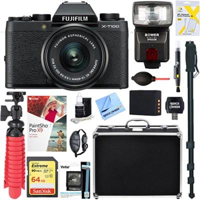 X-T100 Mirrorless Digital Camera w/ 15-45mm Lens + 64GB Memory & Flash Bundle