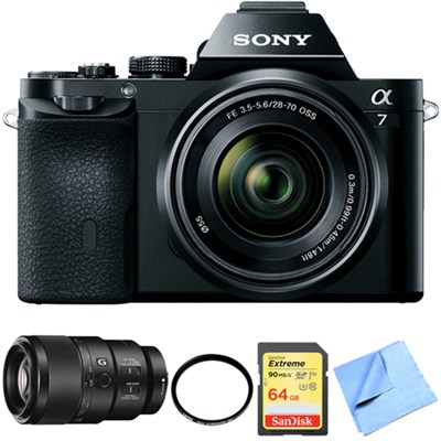 a7K Full-Frame Mirrorless Camera with FE 28-70mm Lens 90mm Macro Lens Bundle