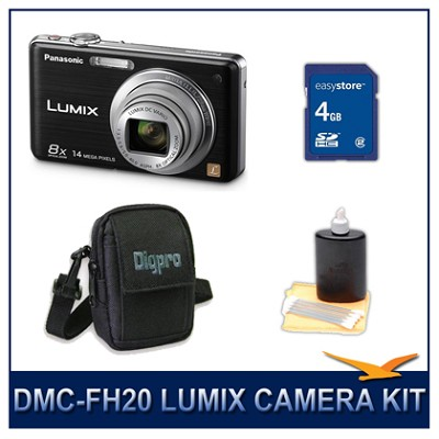 DMC-FH20K LUMIX 14.1 MP Digital Camera (Black), 4GB SD Card, and Camera Case