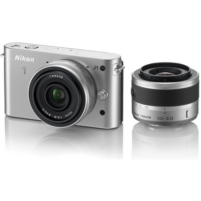 1 J1 SLR Silver Digital Camera w/ 10mm & 10-30mm VR Lenses