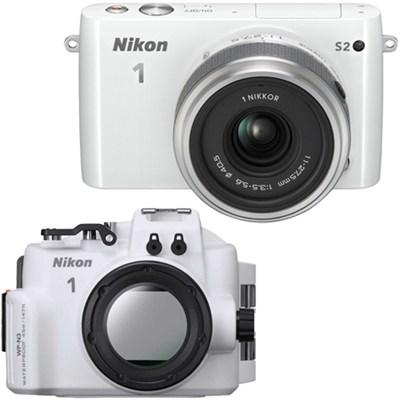 1 S2 Mirrorless White Digital Camera w/ 11-27.5mm Lens Underwater Housing Bundle
