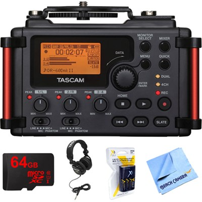 Portable Recorder for DSLR with 64GB MicroSDXC Memory Card Bundle