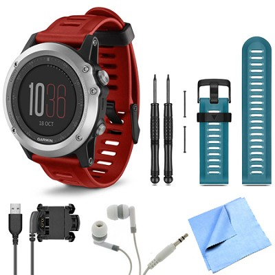 fenix 3 Multisport Training Silver GPS Watch Blue Band Bundle