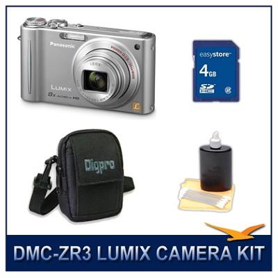 DMC-ZR3S LUMIX 14.1 MP Digital Camera (Silver), 4GB SD Card, and Camera Case