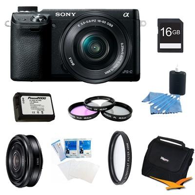 Alpha NEX-6 Digital Camera 16-50mm Lens (Black), 16GB SEL 20mm f 2.8 Lens Bundle