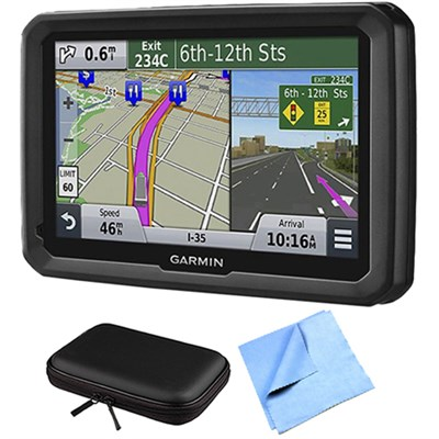 dezl 570LMT 5` Truck GPS Navigation Lifetime Map/Traffic Updates Case Bundle
