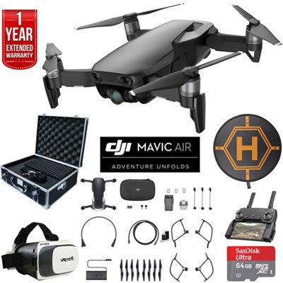 Mavic Air Onyx Black Drone Deluxe Fly Bundle Case VR Set & Warranty Extension