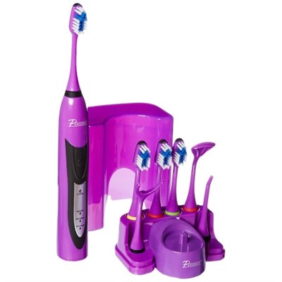 High Powered Sonic Electric Toothbrush with Charger, 12 Brush Heads (Purple)