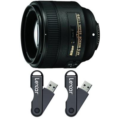 85mm f/1.8G AF-S NIKKOR Lens 64GB USB Flash Drive 2-Pack Bundle
