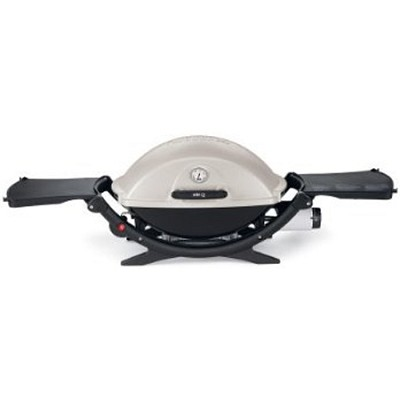 Q 220 Portable 280-Square-Inch 12000-BTU Gas Grill with Electronic Ignition OPEN