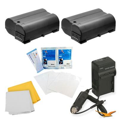 2 Pack Battery Kit For The Nikon 1 V1, D500, D600, D610, D800, D7000, D7100