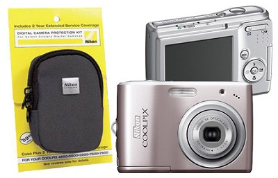 Coolpix L14 Digital Camera (Pink) With Case and Extended Warranty Bundle