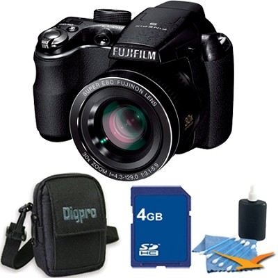 FinePix S4000 14 MP 3` LCD Digital Camera w/ 30x Wide Angle Zoom 4GB Bundle