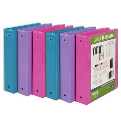 Fashion Color 3 Ring Binder 1.5` Round Rings Clear View Binder - 4 Pack Assorted