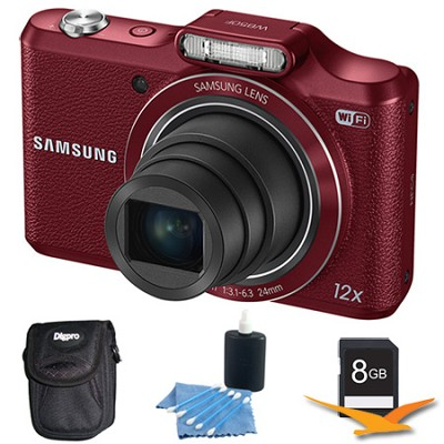 WB50F 16.2MP 12x Opt Zoom Smart Digital Camera Red 8GB Kit