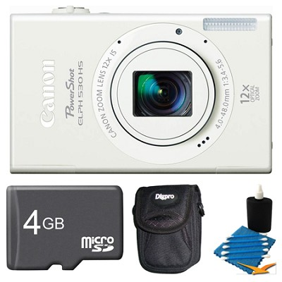 PowerShot ELPH 530 HS White Camera 4GB Bundle