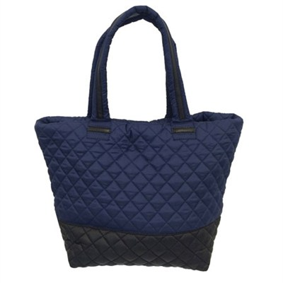 BROVERR Floral Print Quilted Tote Bag - Navy