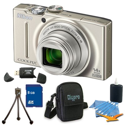 COOLPIX S8200 Silver 14x Zoom 16MP Digital Camera 8GB Bundle