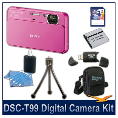 DSC-T99 14MP Pink Touchscreen Digital Camera with 16GB Card, Case, and more