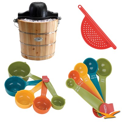 Elite Gourmet Old Fashioned Pine Bucket Electric/Manual Ice Cream Maker Bundle