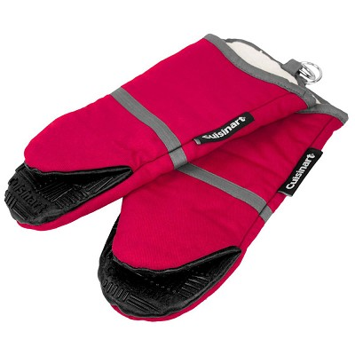 2 Pack Cotton Puppet Oven Mitt with Silicone Grip - Red