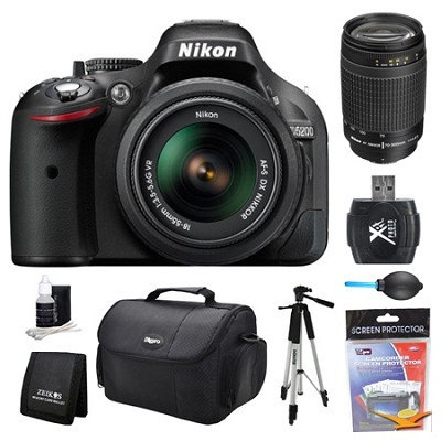 D5200 DX-Format Digital SLR Camera 18-55mm and 70-300mm (MANUAL FOCUS) Lens Kit
