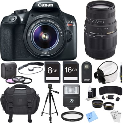 EOS Rebel T6 Digital SLR Camera w/ EF-S 18-55mm IS II + 70-300mm Lens Bundle