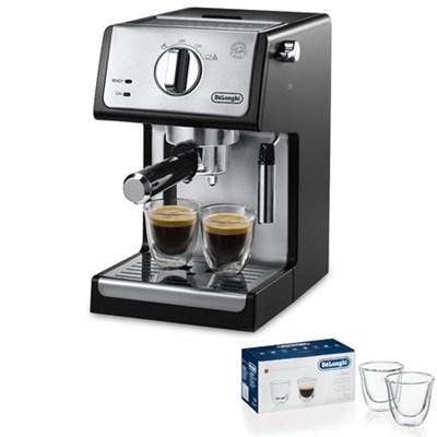 15 Bar Pump Driven Espresso/Advance Cappuccino Machine (Black) 2 Glass Bundle