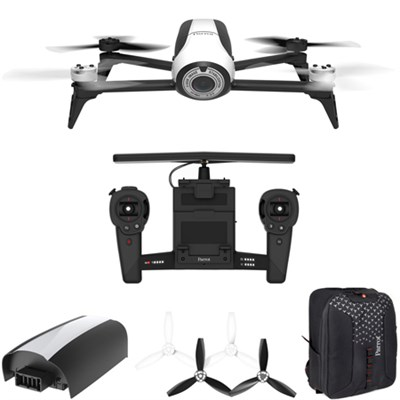 BeBop 2 Quadcopter Drone White with HD Skycontroller Bundle Mobile Command Kit